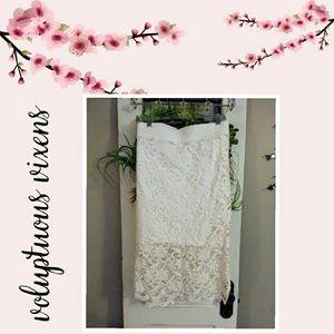 Plus Size Beautiful Cream Lace Tea Length Skirt